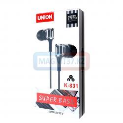 Наушники Union K-831 вакуумные с микрофоном