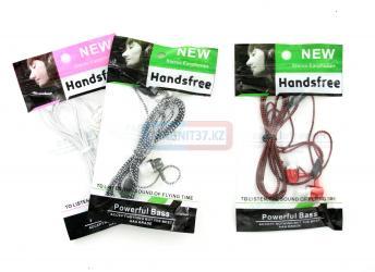 Наушники Handsfree вакуумные без микрофона тканевые (пакет)