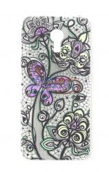 Чехол задник для MEIZU Note 2 гель орнамент цветочный