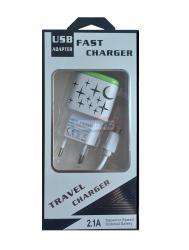 СЗУ microUSB FAST CHARGER светящиеся 2.1А