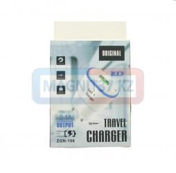 СЗУ microUSB LED Travel Charger 2,1А 2в1